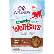 Wellness Crunchy WellBars Holiday Gingerbread Grain-Free Dog Treats, 8-oz bag
