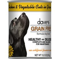 Dave's Pet Food Grain-Free Chicken & Vegetable Cuts in Gravy Canned Dog Food, 13-oz, case of 12