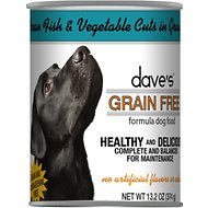 Dave's Pet Food Grain-Free Ocean Fish & Vegetable Cuts in Gravy Canned Dog Food, 13-oz, case of 12