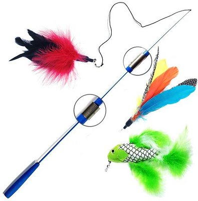 Pet fit for life 3 piece retractable feather wand cat toy for Retractable cat wand