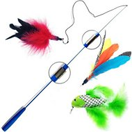 Pet Fit For Life 3 Piece Retractable Feather Wand Cat Toy