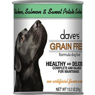 Dave's Pet Food Grain-Free Chicken, Salmon & Sweet Potato Entree Canned Dog Food, 13-oz, case of 12