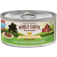 Whole Earth Farms Grain-Free Real Chicken & Turkey Morsels in Gravy Canned Cat Food, 2.75-oz, case of 24