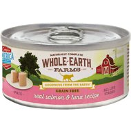 Whole Earth Farms Grain-Free Real Salmon & Tuna Pate Canned Cat Food, 5-oz, case of 24