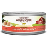 Whole Earth Farms Grain-Free Real Beef & Salmon Pate Canned Cat Food, 2.75-oz, case of 24
