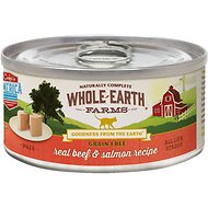 Whole Earth Farms Grain-Free Real Beef & Salmon Pate Canned Cat Food, 5-oz, case of 24
