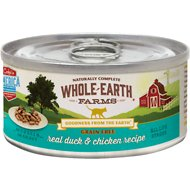 Whole Earth Farms Grain-Free Real Duck & Chicken Morsels in Gravy Canned Cat Food, 5-oz, case of 24