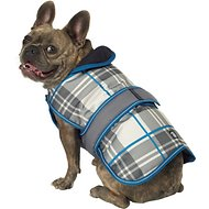 PetRageous Designs Kodiak Dog Coat, Aqua Plaid, Medium