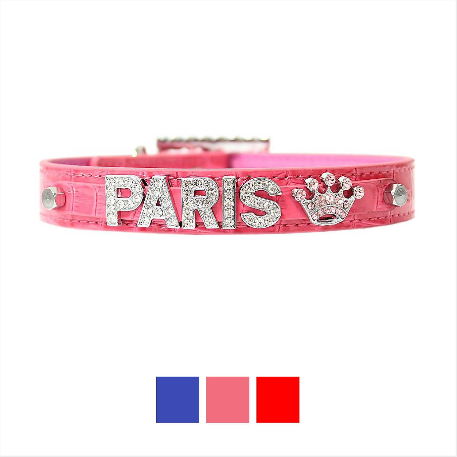 Parisian Pet Croc Texture Personalized Dog Collar Pink Small