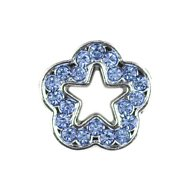 Parisian Pet 10mm Slider Rhinestone Flower Collar Charm, Blue