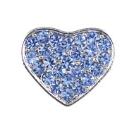 Parisian Pet 10mm Slider Rhinestone Heart Collar Charm, Blue