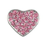 Parisian Pet 10mm Slider Rhinestone Heart Collar Charm, Pink