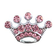 Parisian Pet 10mm Slider Rhinestone Crown Collar Charm, Pink