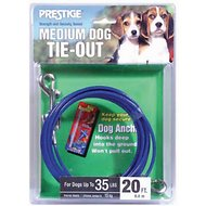 Boss Pet Prestige Dog Tie-Out, Medium, Blue, 20-ft
