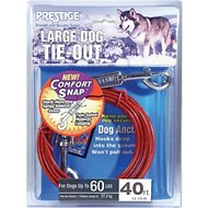 Boss Pet Prestige Dog Tie-Out with Spring, Large, Red, 40-ft