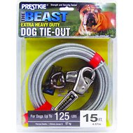 Boss Pet Prestige Dog Tie-Out with Spring, Beast, Silver, 15-ft