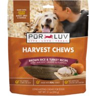 Pur Luv Harvest Chews Brown Rice & Turkey Recipe with Ancient Grains & Pumpkin Dog Treats, 21-oz bag