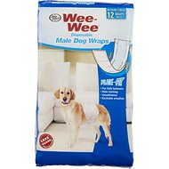 Wee-Wee Disposable Male Dog Wraps, Medium/Large, 12 count