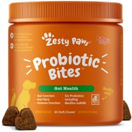 Zesty Paws Probiotic Bites with Natural Digestive Enzymes Pumpkin Flavor Chews for Dogs, 90 count