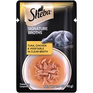 Sheba Signature Broths Tuna, Chicken & Vegetable in Clear Broth Cat Food Topper, 1.4-oz pouch, case of 24