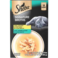 Sheba Signature Broths Clear Broth Variety Pack Cat Food Topper, 1.4-oz pouch, case of 12