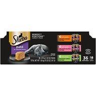 Sheba Perfect Portions Grain-Free Multipack Savory Chicken, Delicate Salmon & Roasted Turkey Pate Cat Food Trays, 2.6-oz, case of 18 twin-packs