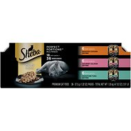 Sheba Perfect Portions Grain-Free Multipack Roasted Chicken, Gourmet Salmon & Signature Tuna Cuts in Gravy Cat Food Trays, 2.6-oz, case of 18 twin-packs