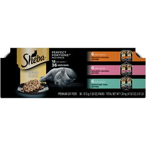 Sheba Perfect Portions Grain-Free Multipack Roasted Chicken, Gourmet Salmon & Signature Tuna Cuts in Gravy Cat Food Trays, 2.6-oz, case of 18 twin-pa