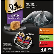 Sheba Perfect Portions Grain-Free Multipack Savory Chicken, Roasted Turkey & Tender Beef Pate Cat Food Trays, 2.6-oz, case of 24 twin-packs