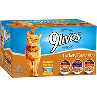 9 Lives Turkey Favorites in Gravy Variety Pack Canned Cat Food, 5.5-oz, case of 24
