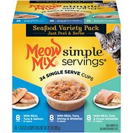 Meow Mix Simple Servings Seafood Variety Pack Cat Food Trays, 1.3-oz, case of 24