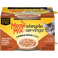 Meow Mix Simple Servings with Real Chicken & Turkey in Gravy Cat Food Trays, 1.3-oz, case of 24
