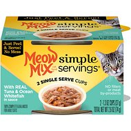 Meow Mix Simple Servings with Real Tuna & Ocean Whitefish in Sauce Cat Food Trays, 1.3-oz, case of 24