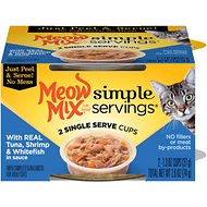 Meow Mix Simple Servings with Real Tuna, Shrimp & Whitefish in Sauce Cat Food Trays, case of 24