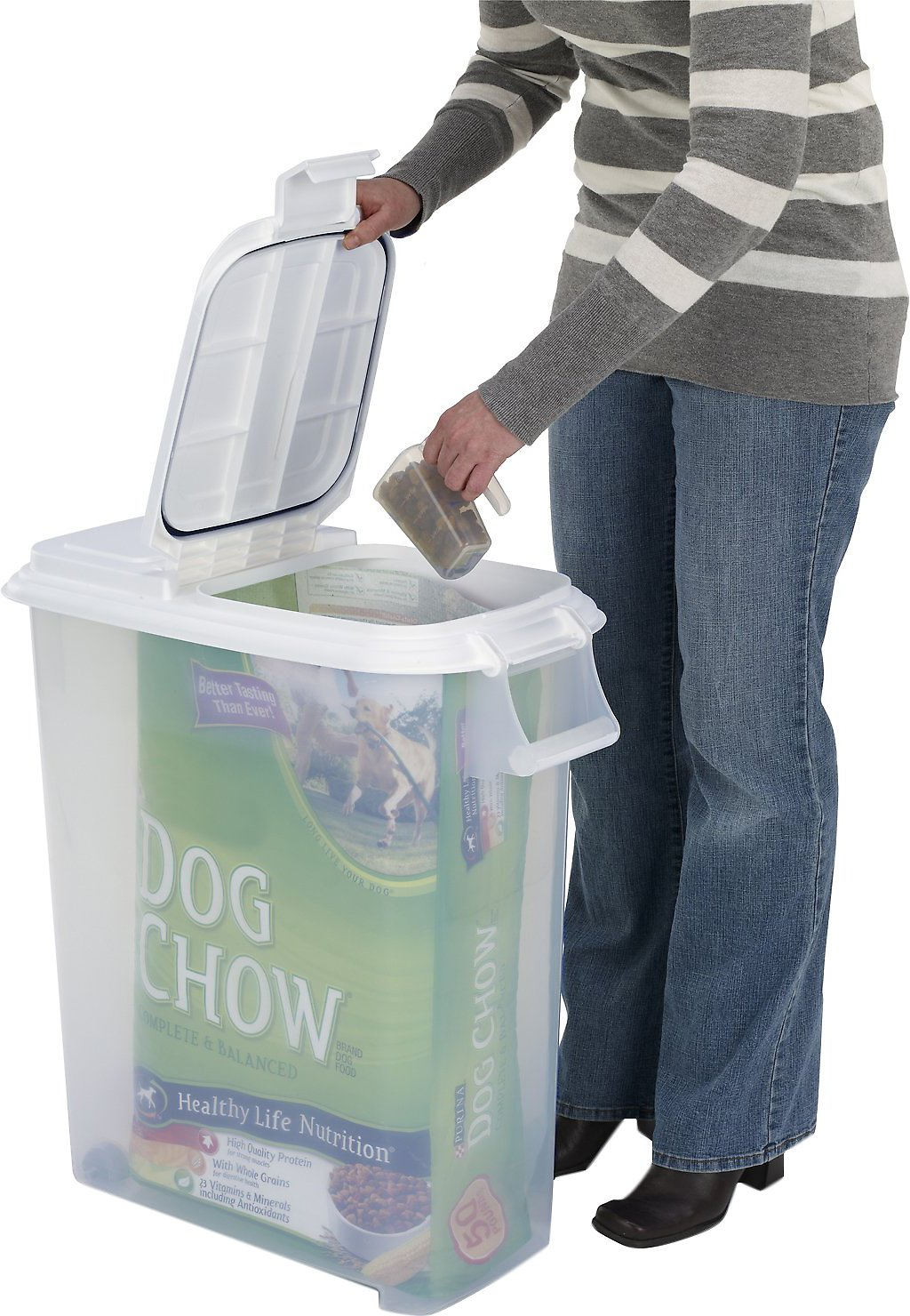 Buddeez Roll Away Pet Food Container With Scoop 50 Qt