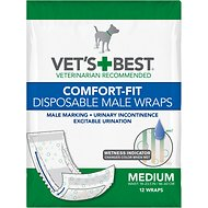 Vet's Best Comfort Fit Disposable Male Dog Wraps, 12 count, Medium