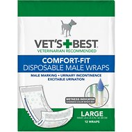 Vet's Best Comfort Fit Disposable Male Dog Wraps, 12 count, Large