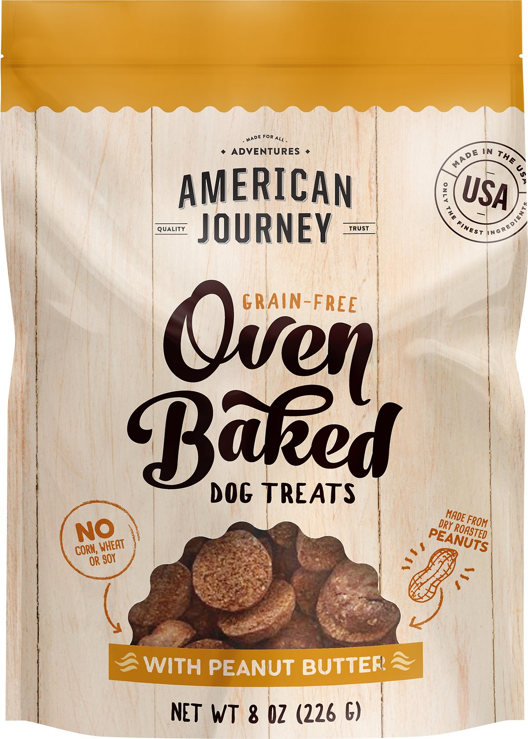 American Journey Peanut Butter Recipe Grain Free Oven Baked Crunchy Biscuit Dog Treats 8 Oz Bag Chewy Com