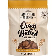 American Journey Peanut Butter Recipe Grain-Free Oven Baked Crunchy Biscuit Dog Treats, 8-oz bag