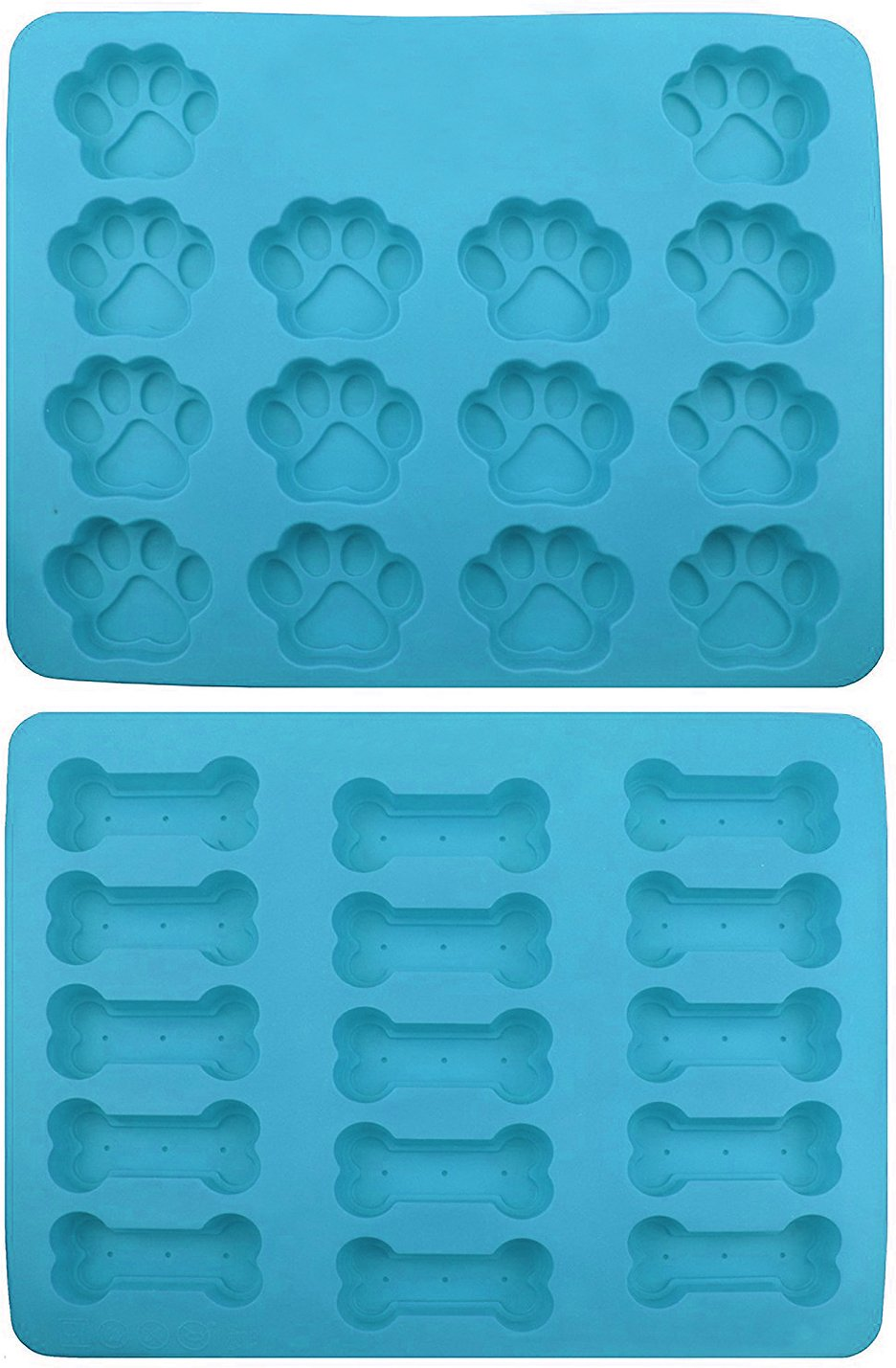 Win&Co Puppy Paws & Bones Silicone Baking Molds, 2-pack