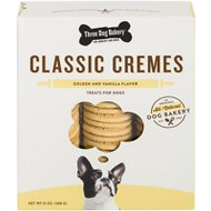 Three Dog Bakery Classic Cremes Golden Cookies with Natural Vanilla Flavor Filling Dog Treats, 13-oz box