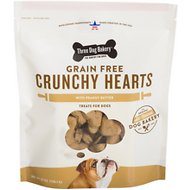 Three Dog Bakery Crunchy Hearts Biscuits Peanut Butter Flavor Grain-Free Dog Treats, 25-oz bag