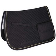 Derby Originals English AP Quilted Horse Saddle Pad with Pockets, Black