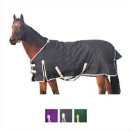 Derby Originals 600D Deluxe Waterproof Turnout Winter Horse Blanket, Black/Grey, 78-in