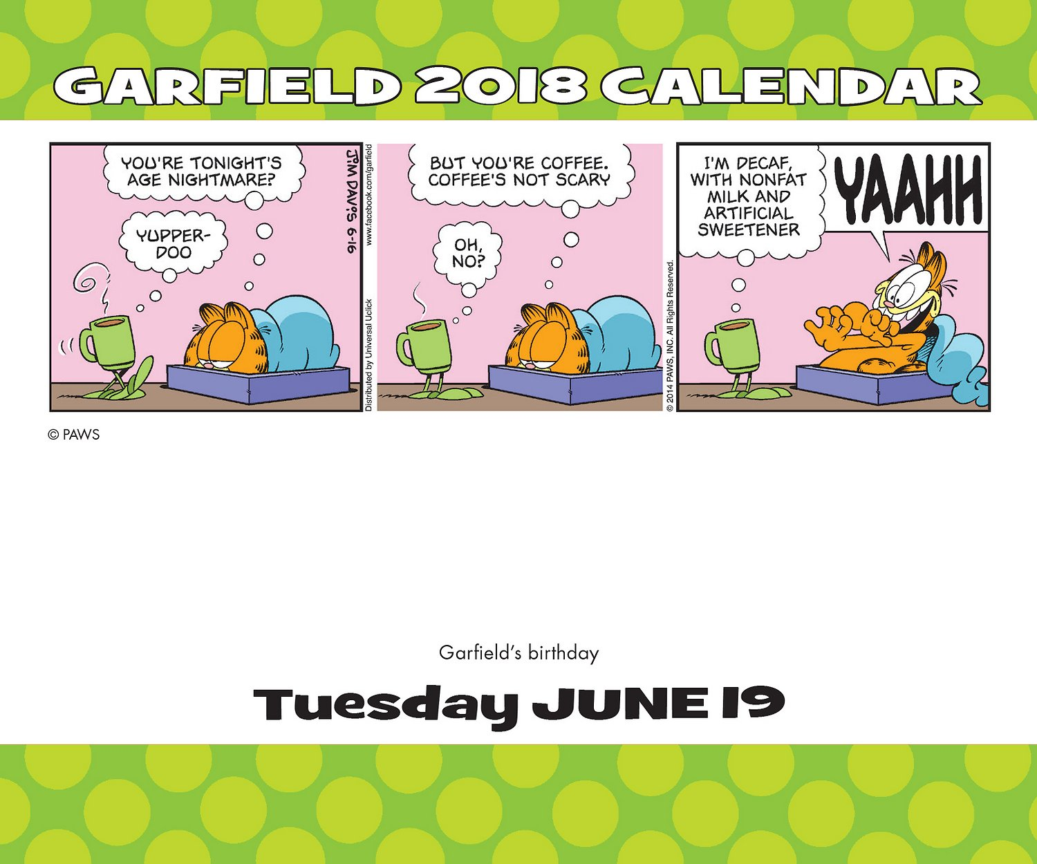 Free Comic Book Day 2018 Krypton: Garfield 2018 Day-to-Day Calendar