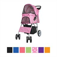VIVO 4 Wheel Dog & Cat Stroller, Pink Polka Dot