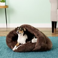 PLS Pet Cuddle Pouch Hooded Pet Bed, Small, Brown
