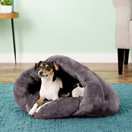 PLS Pet Cuddle Pouch Hooded Pet Bed, Gray, Small