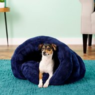 PLS Pet Cuddle Pouch Hooded Pet Bed, Blue, Small