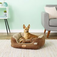 PLS Pet Paradise Bolster Extra Plush Dog & Cat Bed, Brown, Small